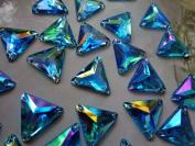 Loose Bead Gem Stones Sew on Sky Blue Rhinestones Triangle Shape 14mm Crystals Flatback Dress Accessory 100pcs