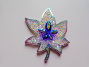 Purple/clear AB Colour Sew on Resin Rhinestones Big Maple Leaf Shape 50X40mm Flatback 2 Holes Gem Stone Crystal 10pcs/bag