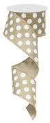 Polka Dot Wired Edge Ribbon (6.4cm , Beige White) - 10 Yards : RG0120701