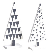 Set of 2 Wooden Pine Lacquered White and Black Wooden Christmas Decoration