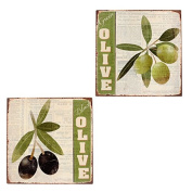 Pack of 2 Decorative Metal Wall Plaques - Black/Green Olives - 30cm