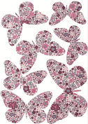 Plage 301510 3D Charming Butterfly Stickers Pink Liberty [7 Butterflies between 8 x 6.5 cm Butterflies and 14 x 11 cm, Plastic, 14 x 100 x 11 cm