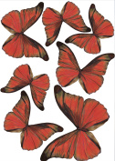 Plage 301507 3D Charming Butterfly Stickers Butterflies Madder 7 Butterflies between 8 and 14 x 11 cm x 6.5 cm), Plastic, red, 14 x 100 x 11 cm