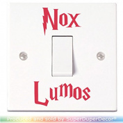 Nox Lumos Light Switch Stickers. Black, Colour, or Glow-in-the-Dark. Off & On funny decal child room lightswitch wall vinyl by SuperDuperDecor® - RED