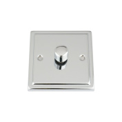 Light Dimmer Switch 1 Gang 400W (Max) - Polished Chrome - Trimline - 2 Way Push On/Off