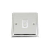 Light Switch 1 Gang - Polished Chrome Trimline - White Insert Metal Switch - 10 Amp Single 1 Gang 2 Way