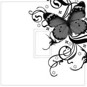 Black, White & Grey Butterfly Vinyl Light Switch Cover Sticker