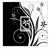 Black & White Swirly Flowers Vinyl Light Switch Cover Sticker