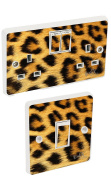 Yellow Leopard Print Light Switch & Double Socket Sticker Vinyl / Skin cover sosw7