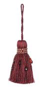 India House Key Tassel, 11cm , Milano, Burgundy Mix