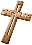 "Earthwood Olive Wood ""Jesus"" Wall Cross, Large"