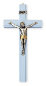20cm Blue Wood Crucifix Cross Wall Hanging Silver and Gold Metal Jesus with Double Heart Love Pewter Brooch OL10562