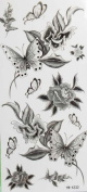 Black flowers and butterfly tattoo stickers