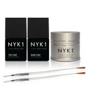 NYK1 NAIL FORCE with Top and Base Coat Pack UV and LED PowerGel ExtendaNail. Amazing Gel Nail Strengthener and Hardener for Nail Extensions, Sculpture Gel, Overlays and Natural with FREE Application Brush Soak Off Formula for Regular or Gel Polish No M ..