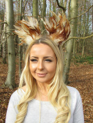 Brown Cream Feather Cat Animal Ears Headband Hair Band Headpiece Festival 2025 *EXCLUSIVELY SOLD BY STARCROSSED BEAUTY*