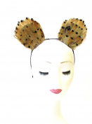 Tan Brown Black Feather Cat Animal Ears Headband Hair Band Headpiece Mouse 1976 *EXCLUSIVELY SOLD BY STARCROSSED BEAUTY*