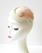 Cream Blush Light Pink Feather Pillbox Hat Races Fascinator Headpiece Vtg 1969 *EXCLUSIVELY SOLD BY STARCROSSED BEAUTY*
