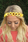 Yellow Orange Daisy Sunflower Chain Flower Garland Headband Hair Band Crown 1956 *EXCLUSIVELY SOLD BY STARCROSSED BEAUTY*