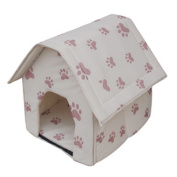 Pet Bed Shelter,Hmane Collapsible Indoor Pet Dog Cat House Bed Shelter--Beige with Small Paw Print
