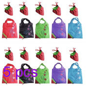 Yuhemii 5pcs Assorted Colours Strawberry Foldable ECO Bags Reusable Shopping Tote Bags