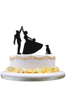 Funny Cake Topper Of Engagenent And Bridal With A Lovly Pet Labrador Dog