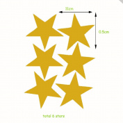 DIY Stars Wall Sticker Decal for Children Nursery Room Decor - Golden 6 pcs stars