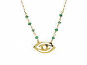 Fronay Collection Silver Gold Plated 16 Plus 5.1cm . Necklace Jade Beads & Eye Pendant