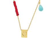 Fronay Collection 18K Gold Plated Sterling Silver Boutique Heart Plaque Pendant Necklace