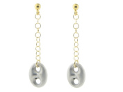 Fronay Collection Italian Two Tone Gold Plated Sterling Silver Dangling Marine Link Earrings