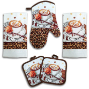 Coffee Latte Kitchen Decor 5 Piece Linen Set