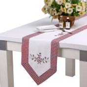 homand'o Table Runner 30cm x 220cm Cotton Cross Stich Embroidery Checked Patched