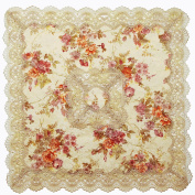 homand'o Tablecloth Jacquard and Printed Fabric with Lace Beige Size 80cm x 80cm