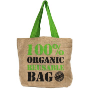 Natural Eco Environmentally Friendly Grocery Shopping Carrier Bag Strong Weaved Jute Hessian Shopper Reusable Tote 40x30cm