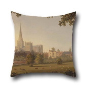 Throw Cushion Covers Of Oil Painting Joseph Francis Gilbert - Chichester Cathedral 20 X 20 Inches / 50 By 50 Cm,best Fit For Boys,couples,relatives,kitchen,outdoor,adults Twin Sides