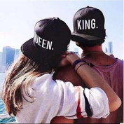 EQLEF® Baseball Cap For Lovers Or Couple QUEEN And KING -Black