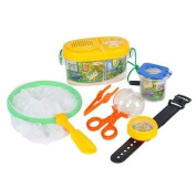 Insect Bug Adventure Set; Bug Catcher Set For Kids Backyard Exploration Kit - Bug Collection Kit Educational Toys - includes butterfly net, compass, tweezers, transfer capsule and bug carriers.