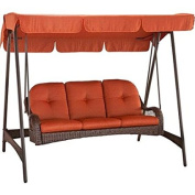 Better Homes and Gardens Azalea Ridge 3-Person Woven Swing with Canopy made with Super Sturdy Steel Frame