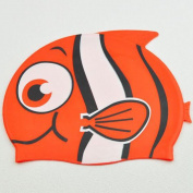Dongcrystal Kid's Silicone Fish Swim Cap Cartoon Animal Swiming Hat-Red Bigeye Fish