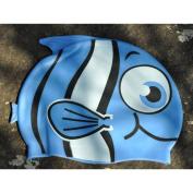 Dongcrystal Kid's Silicone Fish Swim Cap Cartoon Animal Swiming Hat-Blue Bigeye Fish
