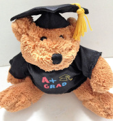 GRADUATION TEDDY BEAR A+ Grad Black Graduate Hat Plush Stuffed Animal Toy Small