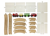Dreamup Toys 16 Piece Train Set, Oval Loop, 6 Block Platforms, 8 Wooden Curves, 2 Elevation Ramps, 4 Trains