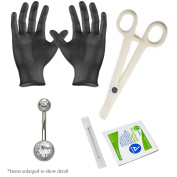 5-piece Belly Navel Piercing Kit - Includes 14ga Belly Piercing Jewellery, Gloves, Needle and Clamp - PK004