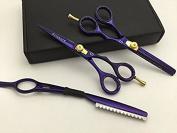 14cm Professional Barber Razor Edge Titanium Coated Hair Cutting and Texturizing Shears Scissors Set+case