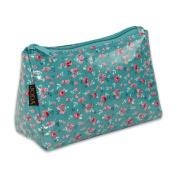 JODA Womens Green with Pink Flowers Cosmetic Make Up Bag Travel Purse