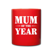 Mum Of The Year Mother's Day Full Colour Mug by Spreadshirt®, red
