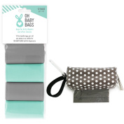 Oh Baby Bags Nappy Bag Clip-On Dispenser with Disposable Bags for Dirty Nappies - Bags Made of Recycled Plastic - Grey Dot Duffle plus 108 Grey and Seafoam Bags