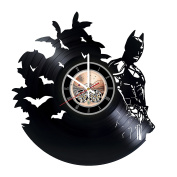 Superhero Silhouette Vinyl Record Wall Clock - Home or Bedroom wall decor - Gift ideas for friends, teens - Unique Art Design