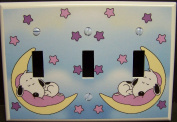 Baby Snoopy TRIPLE Light Switch Cover Plate for Nursery