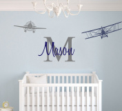Custom Name & Initial With Cute Aeroplanes - Aeronautical Series - Baby Boy - Wall Decal Nursery For Home Bedroom Children (AM)