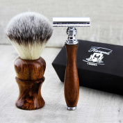 Pure Rose Wood Handle Synthetic Badger Looking Hair Men's Shaving Brush & De Safety Razor (Blades Not Included). Perfect for all Kind Of Shave.